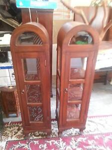 2 DOME SHAPED TIMBER AND GLASS DISPLAY CABINETS G.C. $180 PAIR Murrumba Downs Pine Rivers Area Preview
