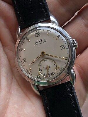Años 40 Vintage Tissot Acero Estuche Hecho en Suiza Reloj de Hombre