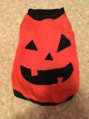 Halloween dog shirt size small, orange and black with velvety pumpkin face (Halloween Dog Face)