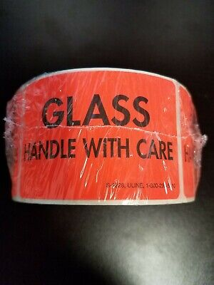 500 2x3 Fragile Glass Handle With Care Orange Warning Sticker Label