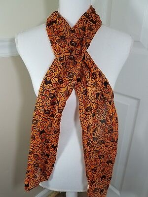 Halloween Scarf Orange Black Cats 11