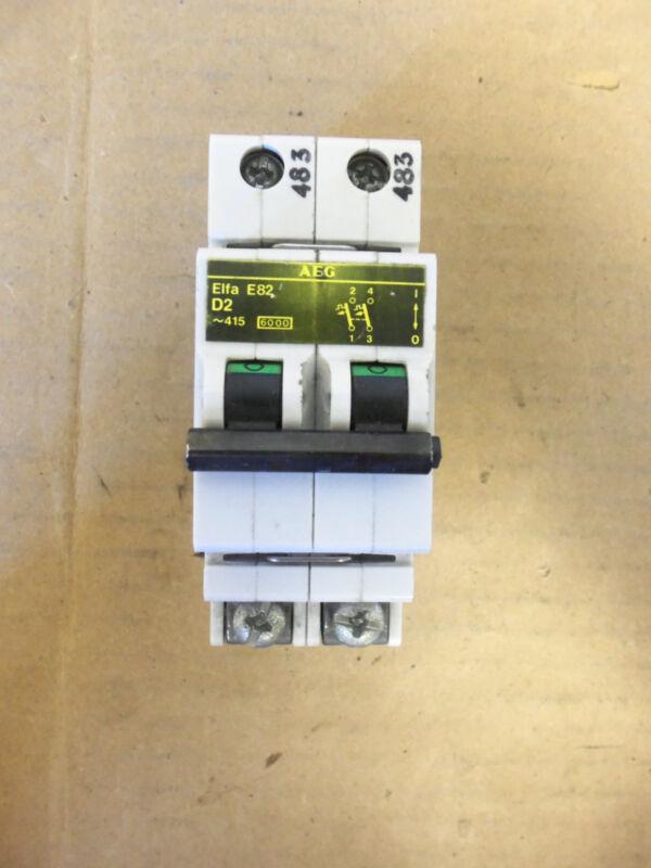 AEG Circuit Breaker ELFA E82 D2 Din Rail Mount 2 Pole Breaker