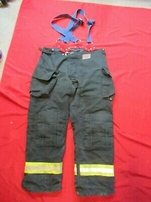 Morning Pride Fire Fighter Turnout Pants 48 X 34 Black Bunker Gear Suspenders