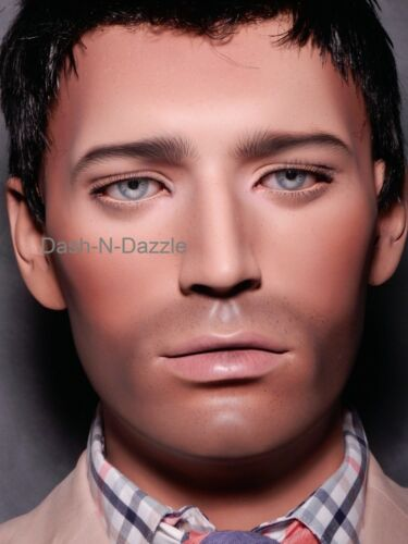 Male mannequin wig bust BLUE GLASS EYES!