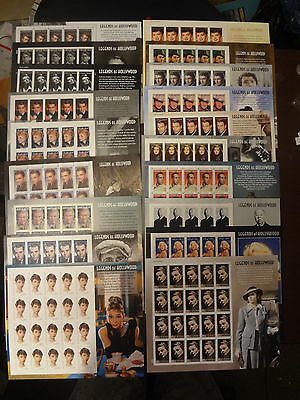 BEAUTIFUL A COMPLETE SET OF 19 US LEGENDS OF HOLLYWOOD STAMP SHEETS