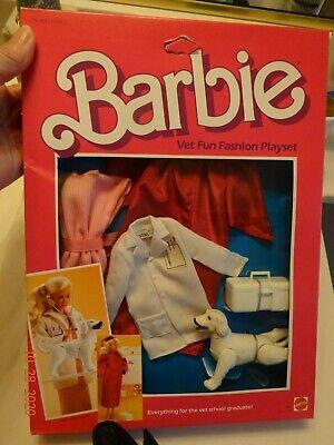 Barbie VET FUN FASHION PLAYSET 1984 nrfb everything vet school grad,white dog