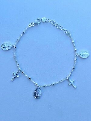Rosary Bead Rosario Cross Charm Bracelet Genuine Real Solid 925 Silver (Pearl Silver Rosary Bracelets)