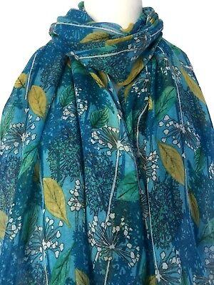 Blue Scarf Turquoise Floral Wrap Ladies Allium Flowers Shawl Mustard Yellow Leaf