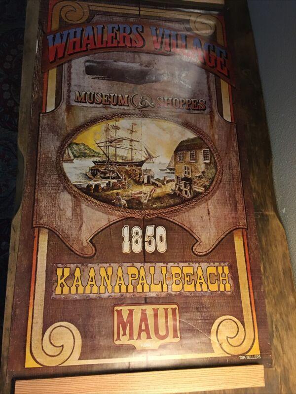 1970 Whalers Village Poster By Tom Sellers Maui Hawaii Kaanapali Beach Tiki Bar