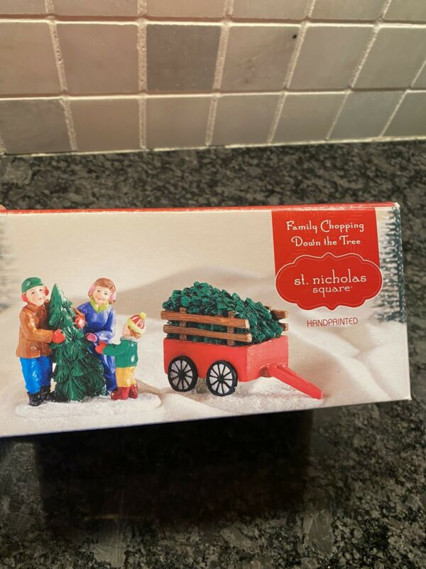 """St. Nicholas Square """"Family Chopping Down The Tree"""" Village New Open Box"""
