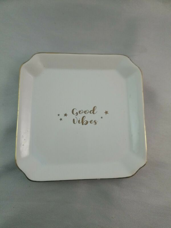 """White and Gold """"Good Vibes"""" Catch-All-Dish Small Square Trinket Tray Home Decor"""
