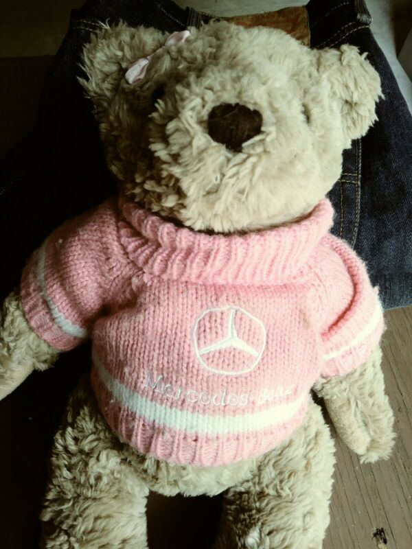 Mercedes Benz Herrington Tan Teddy Bear in Pink Sweater