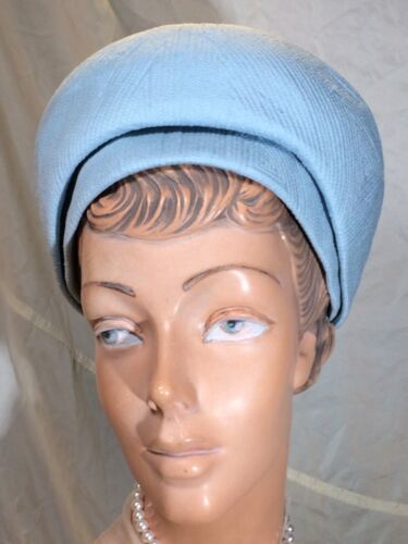 Vintage blue Bubble pillbox Hat 60s quilted Fabric soft Beret mod Go Go Jackie O