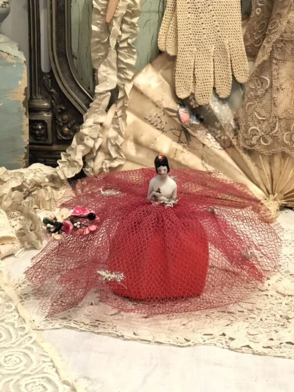 Antique Germany Pin Cushion Doll Red Tulle Dress Paper Posey Glass Hatpin