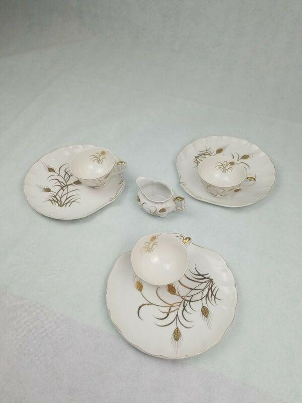 Lefton China Brunch Plates,Tea Cups And Creamer- Qty. 3- Golden Wheat Pattern