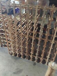 Wooden wine rack holds 81 bottles