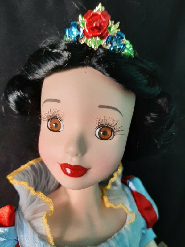 "DISNEY Snow White Brass Key Keepsake Porcelain Ballerina Doll 17""  with STAND"