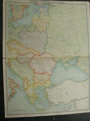 1922 EASTERN EUROPE,MAP,TIMES ATLAS,POLITICAL .BARTHOLOMEW,EDINBURHGH,