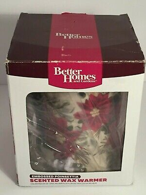 💛 Better Homes & Gardens Embossed Christmas Poinsettia Scented Wax Warmer New