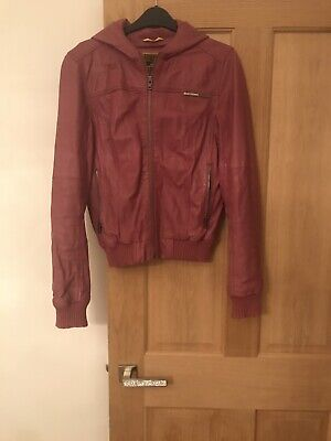 Ladies Small Superdry Pink leather hooded jacket.