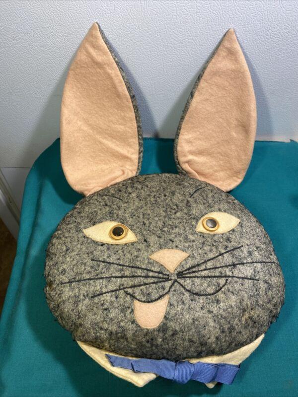 Bunny Rabbit  Felt Pillow Vintage 1950s Toy