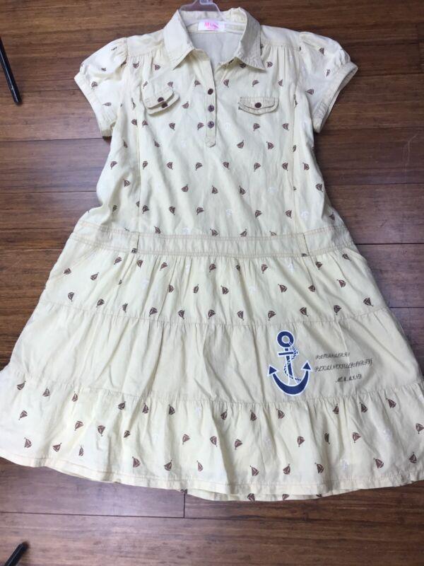 Mom Mind Breastfeeding Dress Cotton Sailboat Roomy Tie Back Discreet Zippers