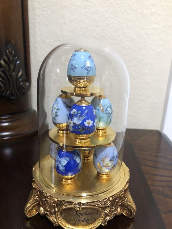 Sapphire Garden Mini Faberge Eggs w/ Glass Covered Golden Stand, 8 Mini Eggs