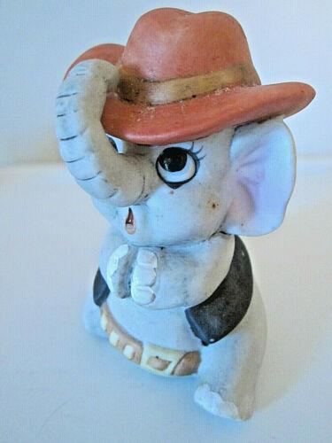 "Vtg porcelain elephant figurine playing cowboy 3.5"""