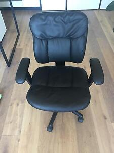 Leather style officeworks desk chair South Yarra Stonnington Area Preview
