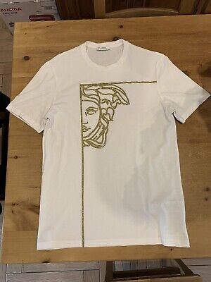 Versace Collection Gold Square Medusa T-Shirt White