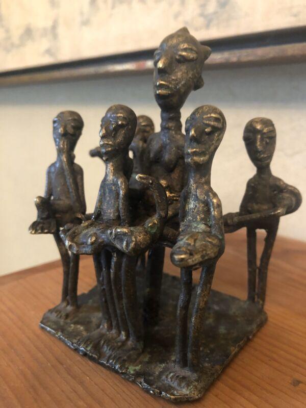 Original Nigeria Baule Old African Bronze Statue Figures