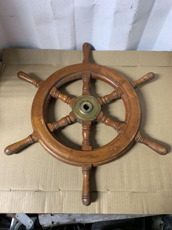 Vintage Boat Steering Wheel Original Wood Salvaged