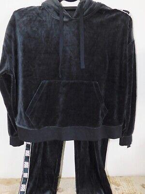 NEW WOMENS MEDIUM BLACK UGG IRIS VELOUR TRACK PANTS & HOODIE JACKET SET OUTFIT](Black Uggs Outfit)