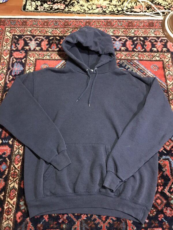 Vintage 90s Lee Faded Blue Hoodie Sweatshirt Size Medium