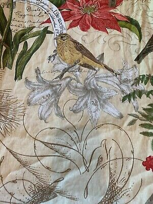 "Canvas Floral BirdsCotton Table Runner 18""x80""  Leaves & Berries -"