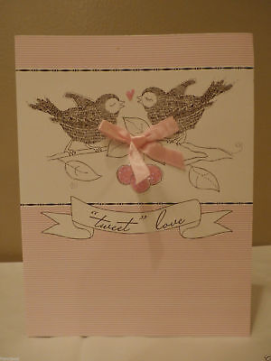 Two Love Birds Tweet Love Pink Bow Ribbon Sparkle CARD Happy VALENTINE Day (Love Birds Paper Ribbon)