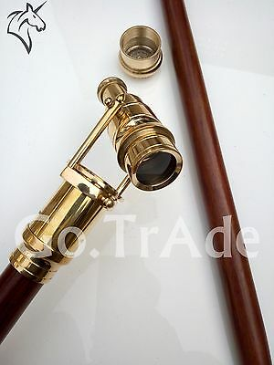 Telescope Brass Handle Wooden Stick Folding Cane Hidden Spy Stick Christmas Gift