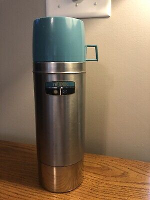 VTG 1965 THERMOS STAINLESS STEEL 2462S VACUUM BOTTLE QUART TEAL CUP CLEAN RARE