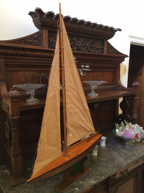 """VINTAGE WOODEN SAILING POND BOAT / SAILBOAT, Large 29"""" long. Original Sails"""