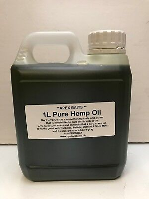 1 Litre Pure Hemp Oil - Carp Fishing Bait Liquid/Glug