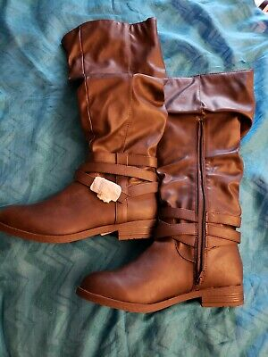 NWT Womens Tall Boots Size 9 M Brown Zip Up