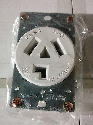 (Dryer Outlet Receptacle 30A 125/250V White 3 Wire Flush Mount 30 Amp NEMA 10-30R)