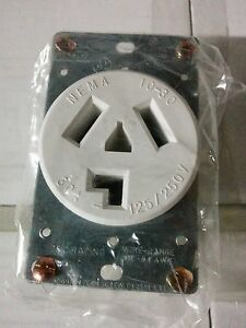 dryer outlet receptacle 30a 125 250v white 3 wire flush