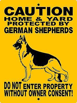 German Shepherd Dog Sign  9 X12  Aluminum Sign Guard Dog Security H2496hgsv2