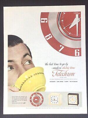 TELECHRON 243 Clock Time Illustration Image art 1953 Vintage Print Ad