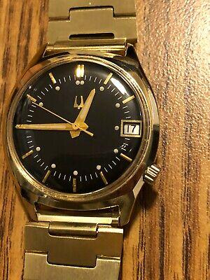 Vintage Bulova Accutron 218 14k Gold Filled Men's Date Watch Running!M9(1969)!