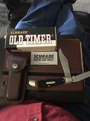 Schrade Old Timer Folding Hunter Knife Clip & Drop Point Blades Belt Sheath 25OT