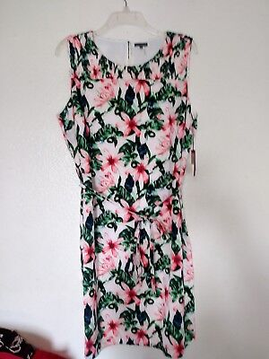 Vince Camuto Dress Sleeveless Sheath White Pink Floral Size 2X NWT Plus Size
