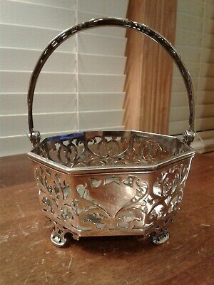 Antique K/&S Silverplate on Copper Repossee Bride/'s Wedding Basket Collectible Victorian Flower Basket