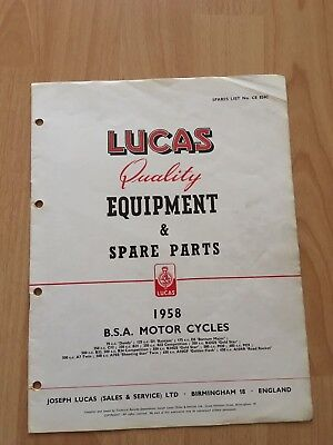 LUCAS BSA Motorcycles equipment &Spare Parts List 1958 all models-A7-A10-B34 etc